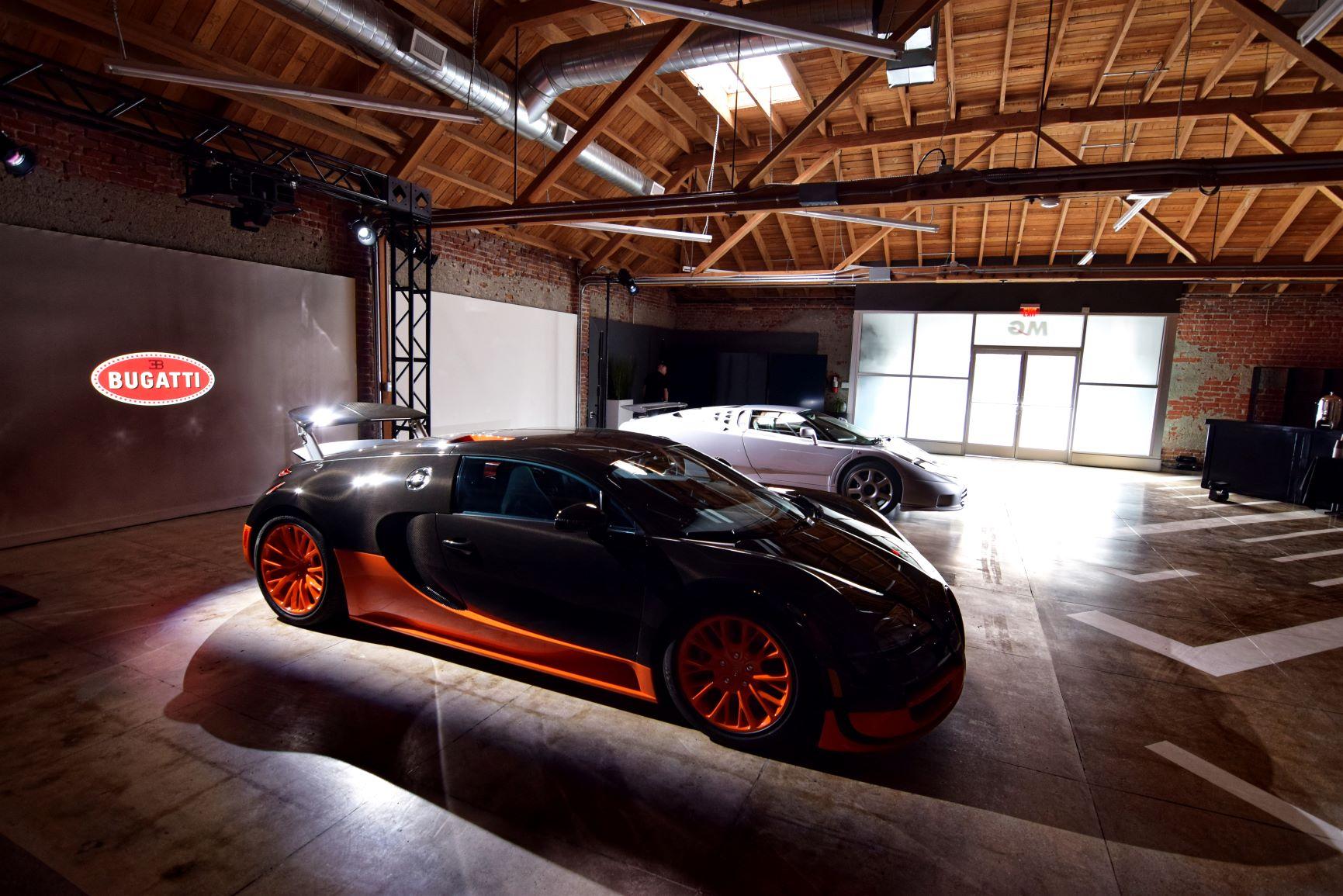 Bugatti Chiron Press Reveal Party LA Auto Show with EB110 and Veyron 16.4