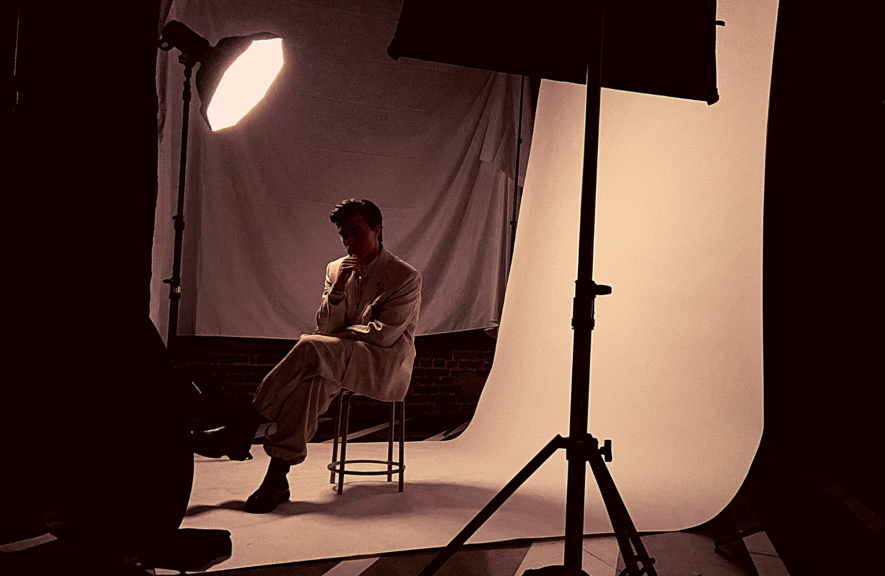 GQ Finn Whitrock Photoshoot White Suit Behind the Scenes