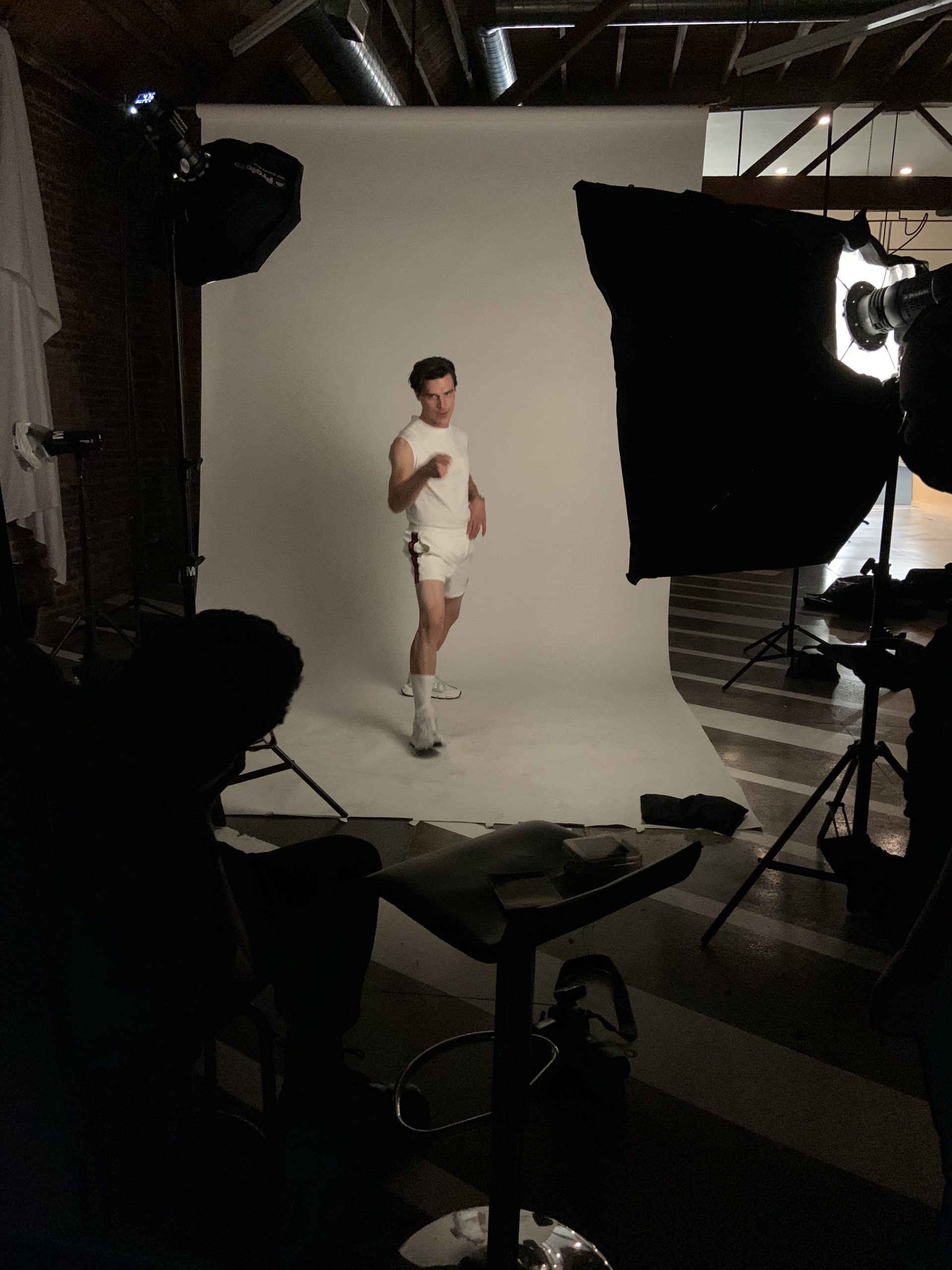 GQ Finn Whittrock Photoshoot Behind-the-Scenes Fitness Suit
