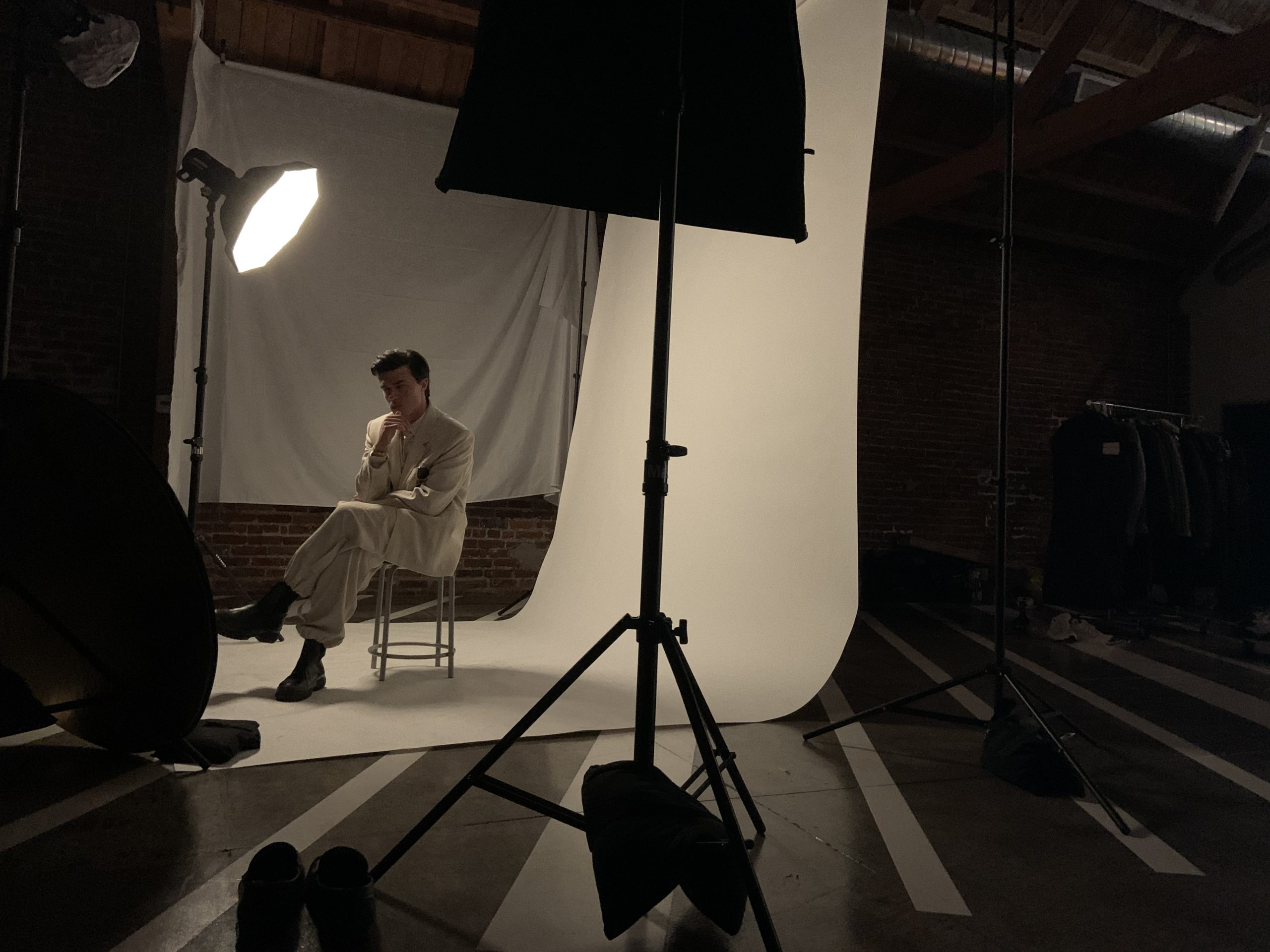GQ Finn Whittrock Photoshoot Behind-the-Scenes White Suit