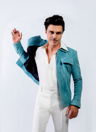 GQ Finn Whittrock Photoshoot Blue Suede Jacket