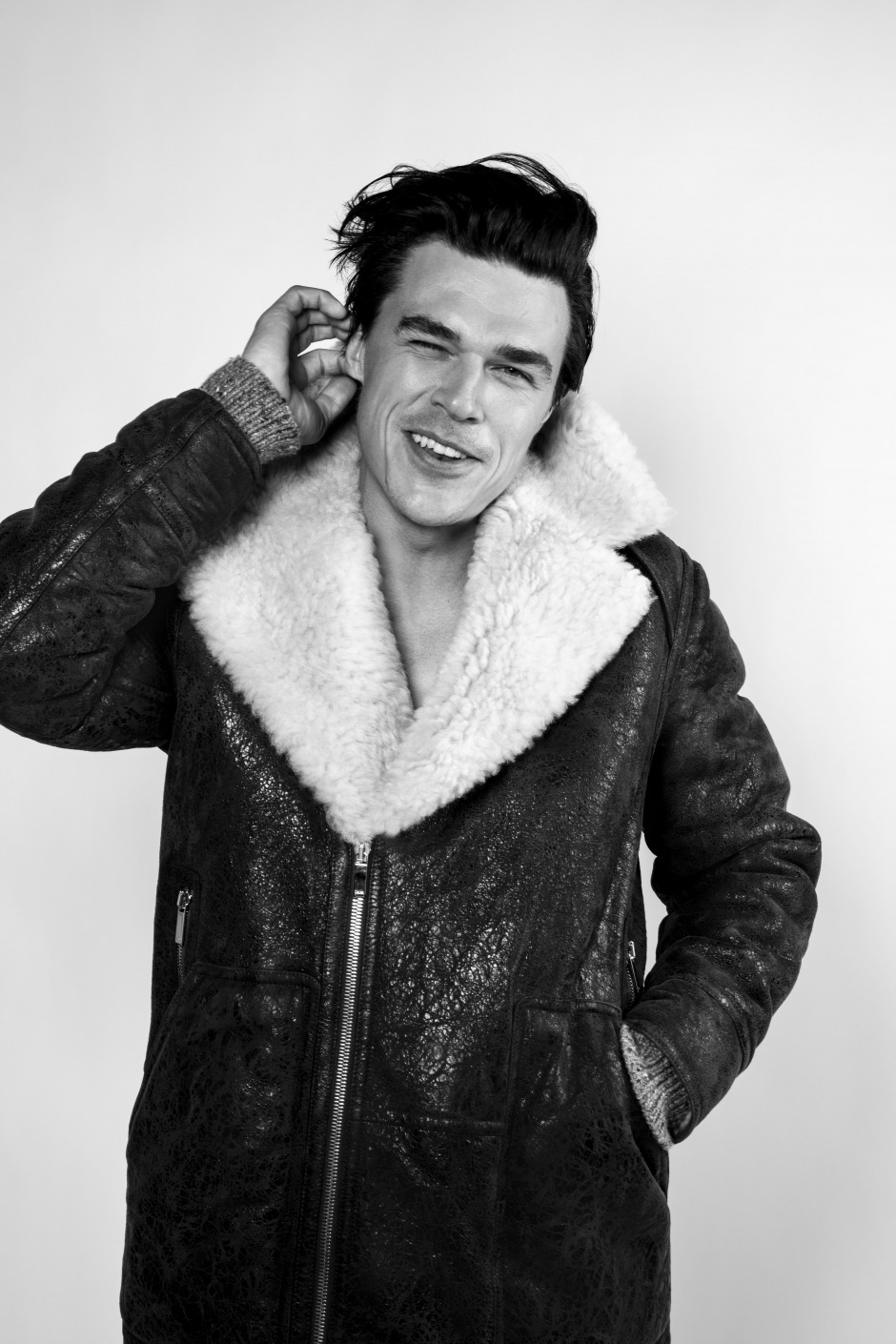 GQ Finn Whittrock Photoshoot Leather Jacket