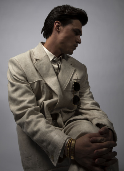 GQ Finn Whittrock Photoshoot White Linen Suit