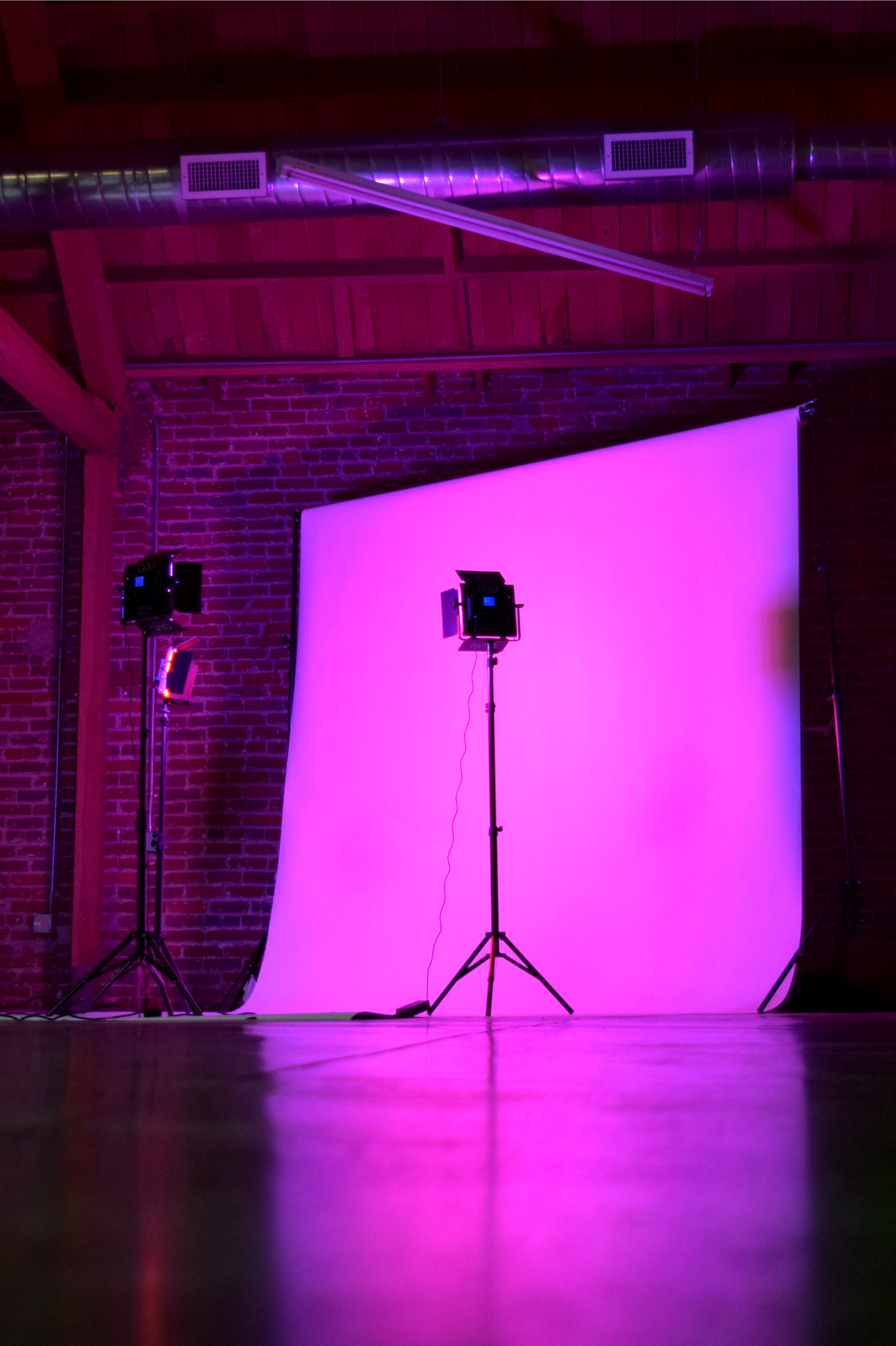 MGS Photoshoots White Seamless Pink Lights Dramatic