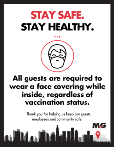 MG Studio Covid-19 rules and regulations face masks inside